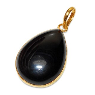 Handmade Gold Overlay Onyx Pendant Necklace (India) - Black