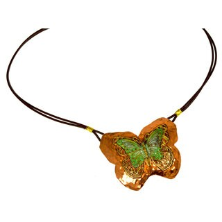 Handmade Verdigris Patina Brass Butterfly with Filigree on Forged Copper Pendant by Elaine Coyne (USA)