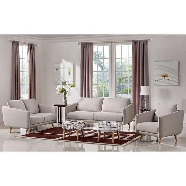 Shop Cedar Classic Beige Fabric 3 Piece Living Room Set