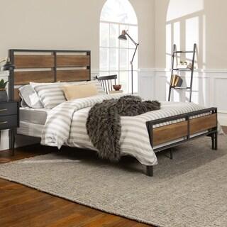 Industrial Metal and Rustic Oak Wood Plank Queen Bed