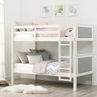 Avenue Greene Wynona Grey Wood Twin Over Twin Upholstered Bunk Bed