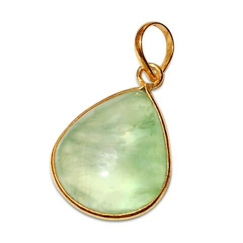 Handmade Gold Overlay Prehnite Pendant Necklace (India) - Green
