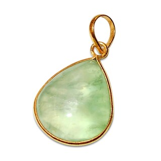 Handmade Gold Overlay Prehnite Pendant Necklace (India) - Green