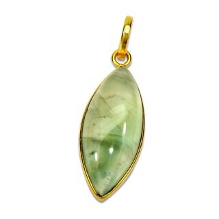 Handmade Gold Overlay Prehnite Pendant (India) - Green