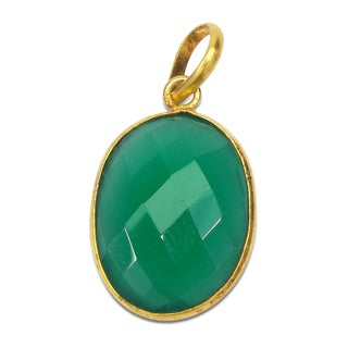 Handmade Gold Overlay Green Onyx Pendant India