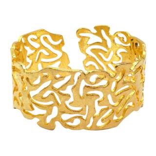 Handmade Brushed Texture Gold Overlay Cuff (India) - Yellow