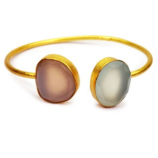 Handmade Gold Overlay Rose & Blue Chalcedony Bangle (India)