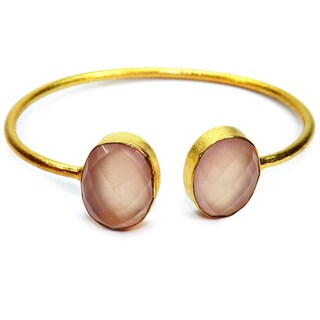Handmade Gold Overlay Rose Chalcedony Bangle (India)