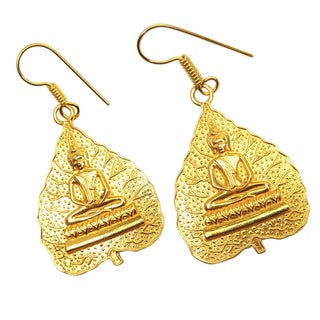 Handmade Gold-overlay Buddha Earrings (India)