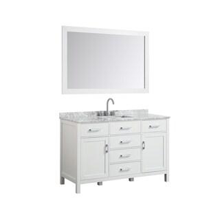 "Belmont Decor Hampton 55"" Single Rectangle Sink Vanity Set In White"