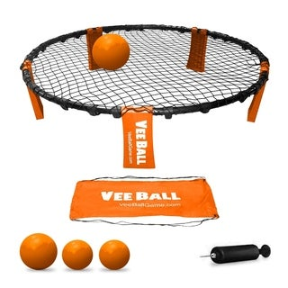 VeeBall Volleyball Spike Game - Includes (3) Balls, Net, Pump & Carry Bag - Exciting Fast Paced Outdoor Lawn Game