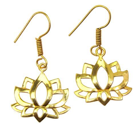 Handmade Gold Overlay Lotus Earrings (India)