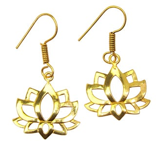 Handmade Gold Overlay Lotus Earrings (India)