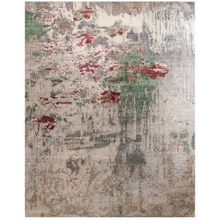 Handknotted Designer Wool and Silk Abstract Rug (8'3'' x 10'6'') - 8'3'' x 10'6''