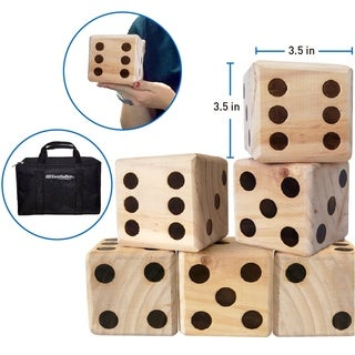 Large Dice Game - Giant Wooden Yard Dice Set -Dice With Bag Dice Games