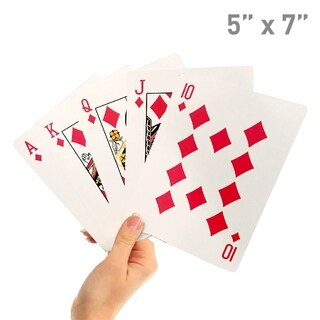 """5"""" X 7"""" Giant Playing Cards - Novelty Jumbo Cards for Kids, Teens or Seniors - Large Print - Poker Full Deck of Cards"""