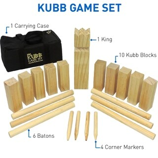 "Kubb The Viking Wooden Outdoor Lawn Game Set - One 2 3/4"" x 12"" King, Ten 1.75"" x 6"" Kubb Blocks, Six 1"" Diameter x 12"""