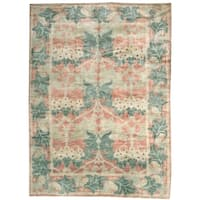 Handknotted Designer Wool Arts and Crafts Rug (9' x 12') - 9' x 12'
