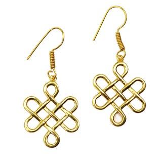 Handmade Gold Overlay Endless Love Earrings (India)