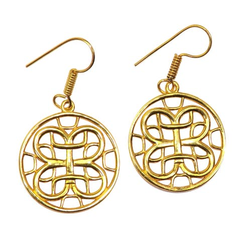 Handmade Gold Overlay Celtic Design Earrings (India)