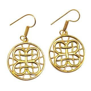 Handmade Gold Overlay Celtic Design Earrings (India)