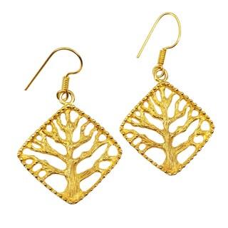 Handmade Gold Overlay Tree of Life Earrings (India)