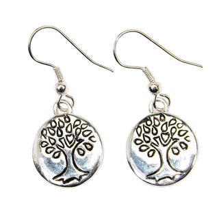 Handmade Silver Overlay Tree of Life Earrings (India)