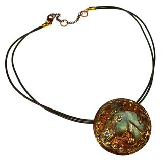 Handmade Verdigris Patina Brass Large Horse Head on Filigree and Paisley Embossed Copper Pendant by Elaine Coyne (USA)