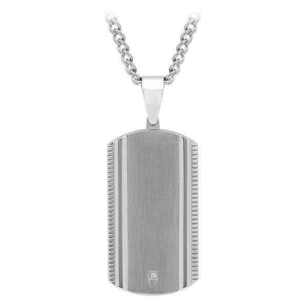 Stainless Steel Dog Tag pendant; Mens Jewelry