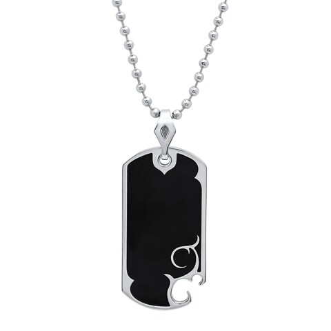 """Men's Stainless Steel Black Resin Vintage Design Dog Tag Pendant with Ball Chain Necklace, 24"""""""