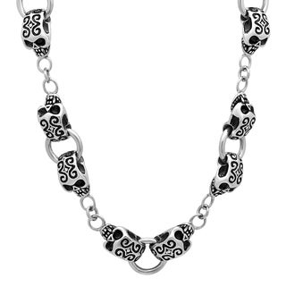 Men S Stainless Steel Tribal Skull Link Chain Necklace 24