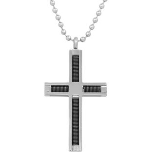 """Men's Stainless Steel Enclosed Black Spring Cross Pendant with Ball Chain Necklace, 24"""""""