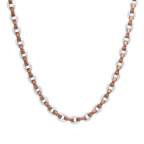 Men's Stainless Steel Two-Tone Brown/Silver-Tone Link Chain Necklace, 24""