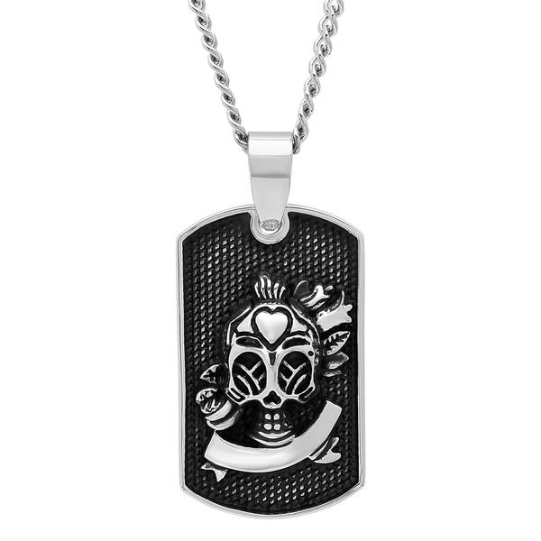 Mens stainless steel sugar skull dog tag pendant with curb chain menx27s stainless steel sugar skull dog tag pendant with curb chain necklace aloadofball Choice Image