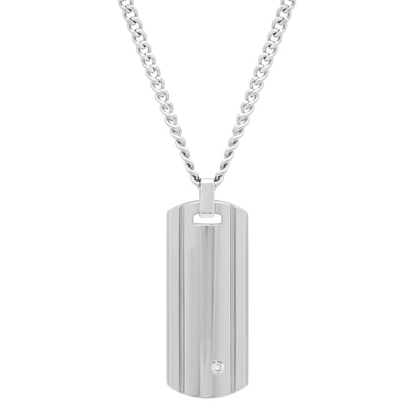 Shop mens tungsten diamond accent dog tag pendant with stainless menx27s tungsten diamond accent dog tag pendant with stainless steel curb chain aloadofball Image collections