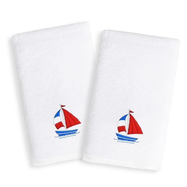 Sweet Kids Sailboat Embroidered White Turkish Cotton Hand Towels (Set of 2)