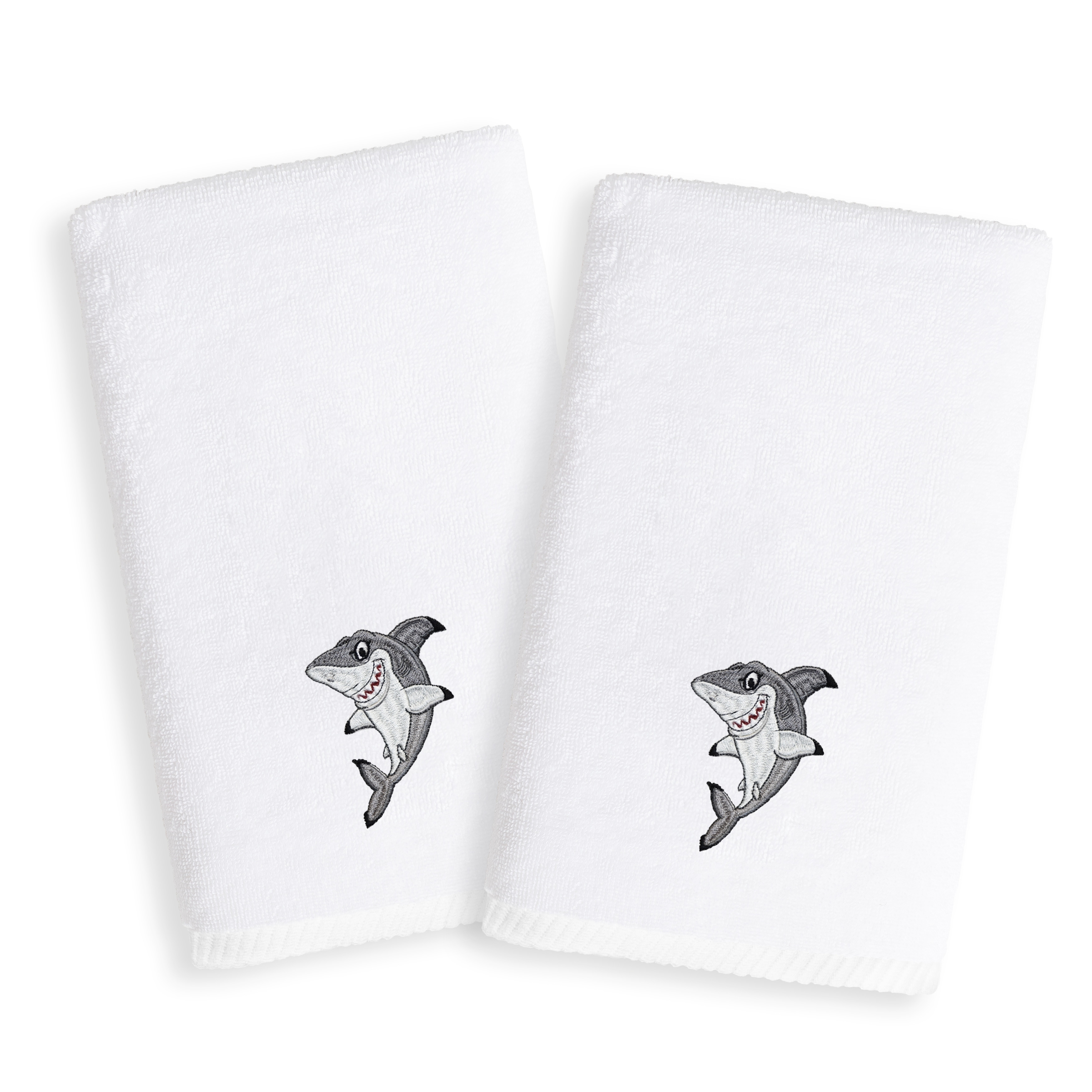 Embroidered Terry Cloth Hand Towels: Sweet Kids Shark Embroidered White Turkish Cotton Hand