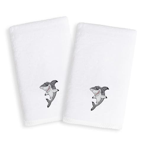Sweet Kids Shark Embroidered White Turkish Cotton Hand Towels (Set of 2)
