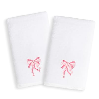 Sweet Kids Pink Bow Embroidered White Turkish Cotton Hand Towels (Set of 2)