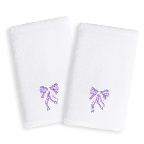 Sweet Kids Purple Bow Embroidered White Turkish Cotton Hand Towels (Set of 2)