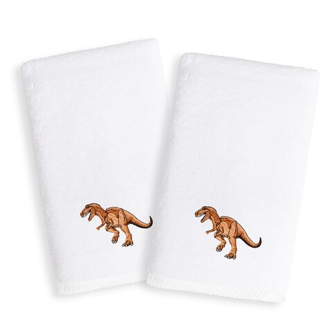 Sweet Kids Dinosaur Embroidered White Turkish Cotton Hand Towels (Set of 2)