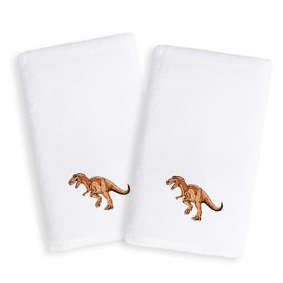 Sweet Kids Dinosaur Embroidered White Turkish Cotton Hand Towels (Set of 2)