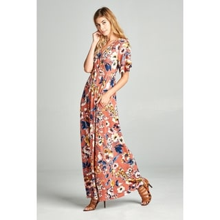 Spicy Mix Vivienne Wrap Front Floral Print Maxi Dress + Pockets