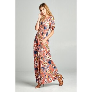 Spicy Mix Vivienne Wrap Front Floral Print Maxi Dress + Pockets