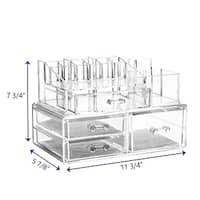 Ikee Design Large Acrylic Makeup Organizer Clear 2-piece Set