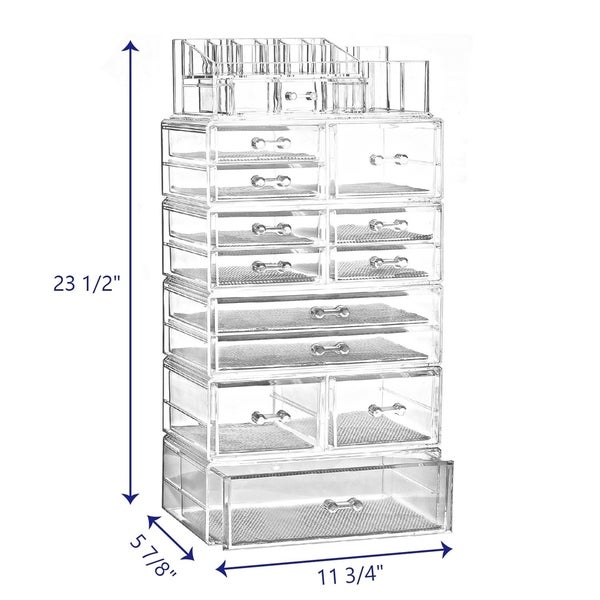shop ikee design large acrylic makeup organizer with 13 drawers
