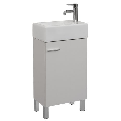 Bathroom 18 Inch vanity with reversible Vitreous China Top. One faucet hole. Vanity with 2 Options: wall hang or legs. - White