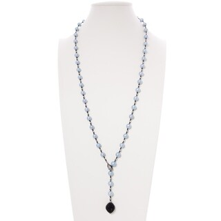 Gray Dyed Pearl Necklace with Black Cubic Zirconia Pendant