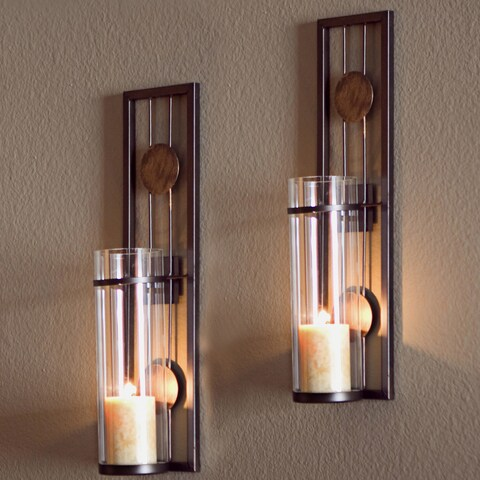 Porch & Den Montclair Columbus Contemporary 2-piece Metal Candle Sconce Set