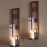 Copper Grove Rondeletia Contemporary 2-piece Metal Candle Sconce Set
